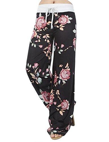Assivia Womens Wide Leg High Waist Yoga Pants Casual Printed Drawstring Trousers (XL, Black)