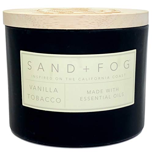 Sand + Fog Vanilla Tobacco Scented Candle Stamped Wooden Lid