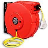 ReelWorks Extension Cord Reel Retractable Longest Industrial 12awg x 80' Foot Commercial Premium Grade Ultra Flexible 3C/Sjtpw Glow Strip Cable and Led Light Up Triple Tap Connector Use Indoor/Outdoor