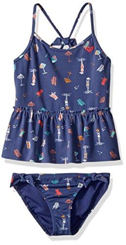 Roxy Girls' Little Tropicool Sunshine Tankini Swimsuit Set, deep Cobalt on The Beach, 4