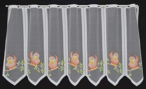 Scheibengardine mit Vögeln 60 cm hoch | Breite der Gardine durch gekaufte Menge in 18,5 cm Schritten wählbar...