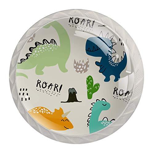 Schrankgriffe Blaugrüner Dinosaurier Möbelknöpfe Kinder 4er Set Möbelknöpfe Kinderzimmer Set Schubladenknöpfe Möbelknäufe Kinderzimmer 4 Stück 3.5x2.8cm
