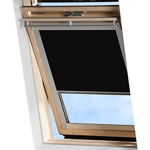 MCTECH Dachfenster Rollo Sonnenschutz Verdunkelung Thermorollo Jalousien Rollos (M06/306, schwarz)