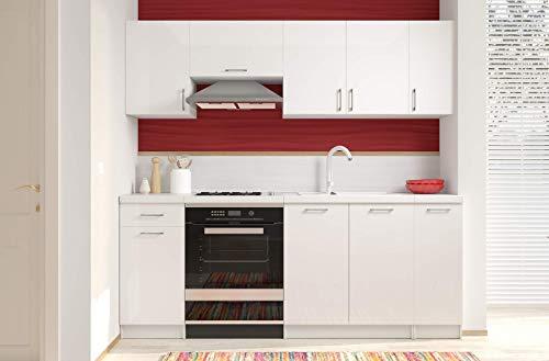 Arreditaly Cucina Componibile Completa con Top Tagliato Bianco, Mobili Pensili Sospesi e Mobili Base Cucinino Moderno in Laminato da 210 Cm da Incasso (Bianco Lucido Laccato)