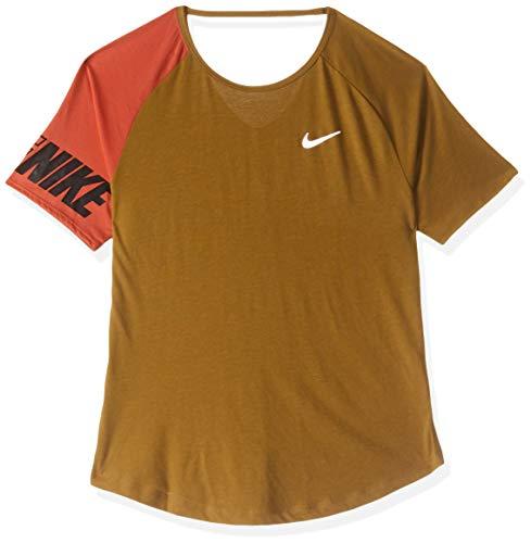 NIKE Camiseta Miler para Mujer, Mujer, Camiseta, AV8177, Wheat/Ember Glow/Black/Reflective, Medium