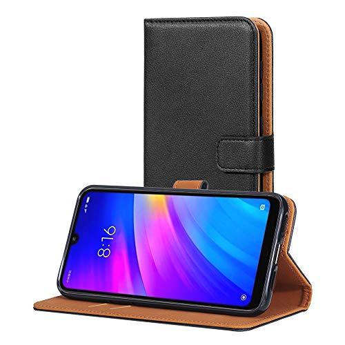 AICEK Hülle Kompatibel mit Xiaomi Redmi 7, Lederhülle für Xiaomi Redmi 7 Schutzhülle PU Leder Klapphülle mit Kartenfach Ständer Magnet Funktion Schwarz (6,26 Zoll)