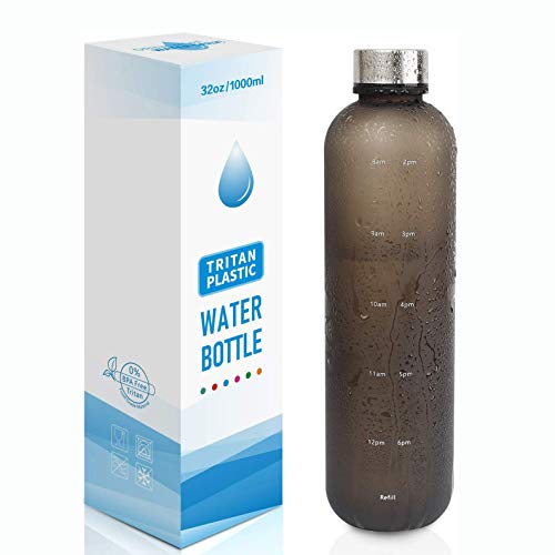 32oz Water Bottle, BPA Free Water Bottle Hydration with Motivational Time Marker Reminder Leak-Proof Drinking Water Jug ,ensure You Drink Enough Water Throughout The Day for Fitness and Outdoor Enthusiasts - For Fitness, Sports, Gym, Travel And Outdoors - Leakproof, Durable (black)