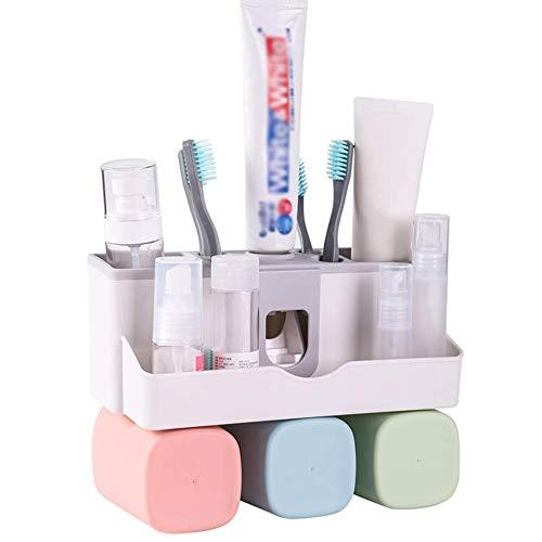 BFMAOYI Badregal Dusche Aufbewahrung Zahnbürstenhalter Wand-Zahnpasta Punch Free Multifunction Rack, 3 Größen (Farbe: B-23.5x11x17.5cm)