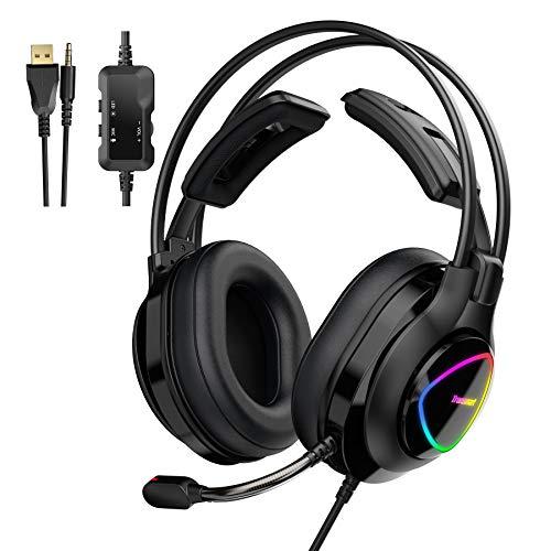 Tronsmart Alpha-glary Auriculares Gaming PS4 50mm Estéreo Envolventes con Micrófono Plegable-Ajustables Espuma-RGB Cascos Gaming 3,5 mm-Cancelación del Ruido para PC,PSP,Xbox One,Switch y móviles