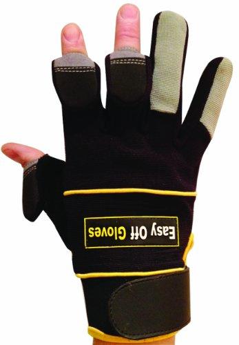 Gants spécialisés velcro (avec bouts des doigts repliables) par Easy Off Gloves – Vus dans le Daily Mirror, le Sun, et portés par Iwan Thomas MBE - idéaux pour l'équitation, la chasse, la pêche, la salle de sport, l'haltérophilie, le jardinage, la photographie, le paint-ball, le bricolage, et le travail manuel en général. EU 9