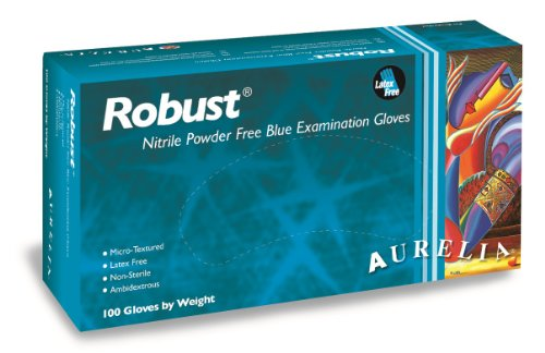 Aurelia Robust Nitrile Glove, Powder Free, 9.4' Length, 5 mils Thick, Medium (Pack of 100)