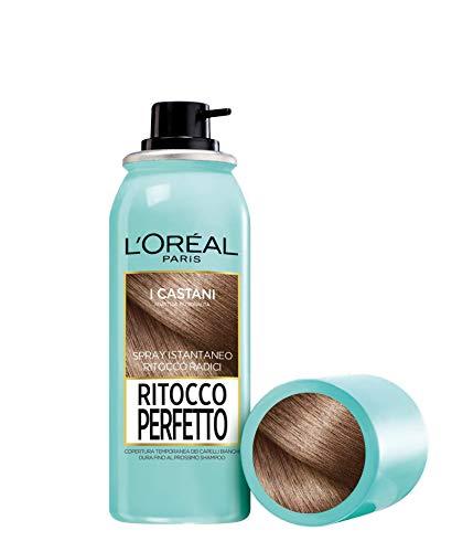 L'Oréal Paris Spray Radici Ritocco Perfetto, Colorazione Ricrescita, Copre i Capelli Bianchi e Dura 1 Shampoo, Castano, 75 ml, Confezione da 1