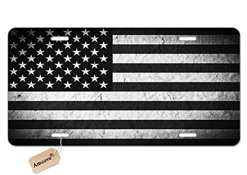 Amcove License Plate Vintage Grunge American Flag Decorative Car Front License Plate,Vanity Tag,Metal Car Plate,Aluminum Novelty License Plate,6 X 12 Inch (4 Holes)