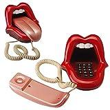 Telefono Fisso Ufficio Lingua della novità Che allunga la Labbra Telefono del Telefono con Cavo con indicatore LED, quadrante Audio/impulso, Mini Telefono Fisso (Color : B)