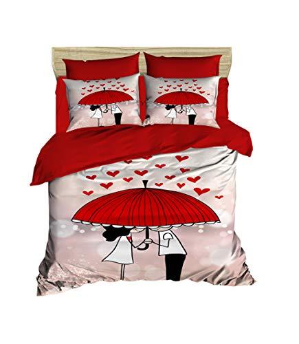 3D Regenschirm Bettbezug Set | Double Duvet Cover Set |% 100 Baumwolle | 200x220 Double | 4er Set Bettwäscheset mit Bettbezug, Laken und Kissenbezug | 4 in 1 with Duvet Cover, Sheet and Pillow Covers