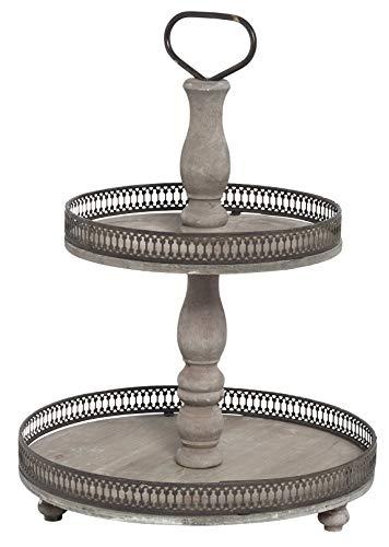 Posiwio dekorative Dekoetagere Küchenetagere 2-stufig Vintage Landhaus Stil Shabby Optik braun