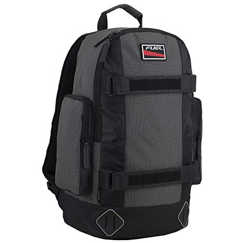 Fuel Pro Skater Backpack With Adjustable Dual Straps And Interchangeable Patch Panel, Black and White Ripstop Print