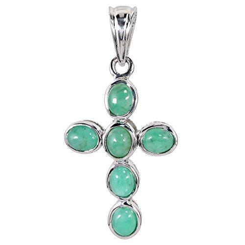 Harry Ivens Damen-Anhänger Kreuz Kettenanhänger Sterling-Silber 925 rhodiniert Smaragd