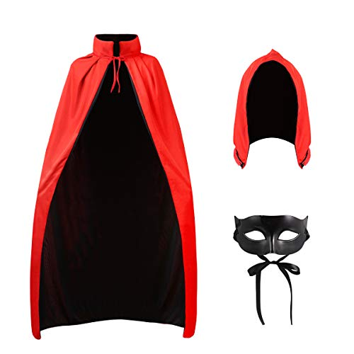 CLISPEED Halloween Vampir Kostüm Cape Cosplay Outfit Stehkragen Erwachsenen Mantel Prop mit Maske und Abnehmbarer Kapuze für Halloween Maskerade Weihnachten, Schwarz + Rot, 140CM