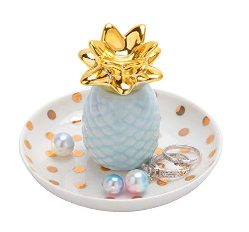 Jojuno Ananas Ceramic Ring Holder Decor Jewelry Dish Organizer, Jewelry Tray, Blue Pineapple Jewelry Plate