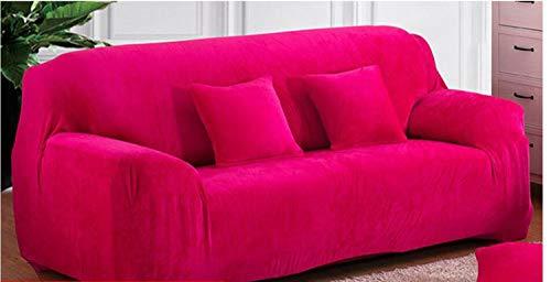 SWECOMZE 1/2/3/4 posti Copertura Semplice vestibilità Elastico Divano Copertura in Velluto, Rosa, 3 Seater:195-230cm