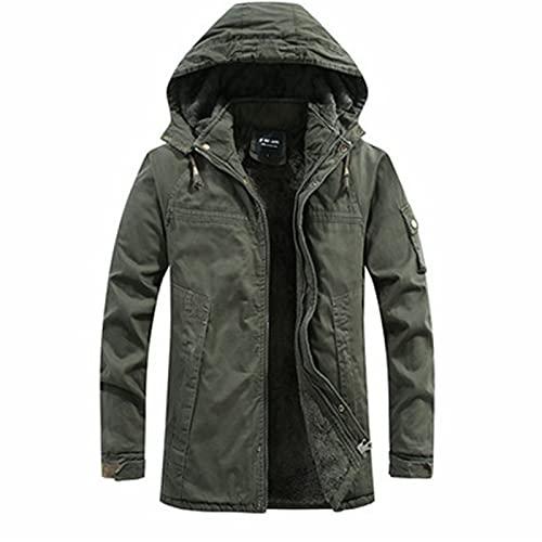 Giacca da uomo calda imbottita, parka invernale da uomo, giacca militare, con cappuccio rimovibile, in cotone, verde, L