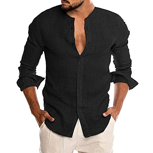 COOFANDY Men Fashion Banded Collar Linen Shirts Button-up Yoga Shirts Black