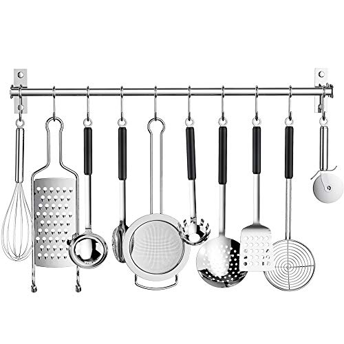 Kitchen Sliding Hooks, Stainless Steel Utensil Hanging Rack...