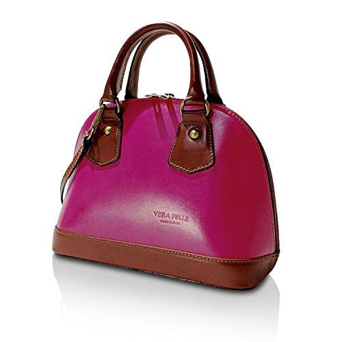 Gloop Damen Umhängetaschen echt Leder Tasche Handtaschen mit Kette Schultertaschen Shopper Made in Italy
