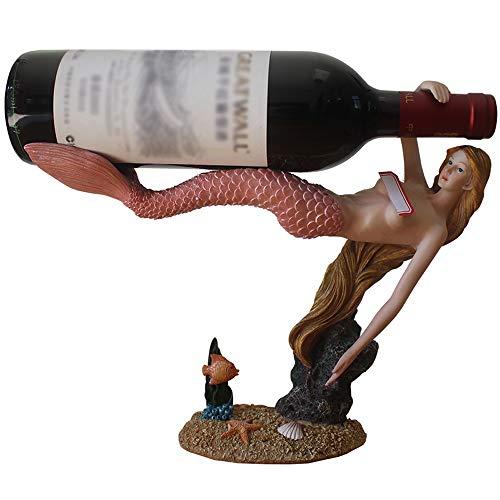 ZHUANYIYI Estante de Vino, Creatividad Resina Decorativa Estante de Vino Mermaid Rack de Vino Mesa de Cocina Decoración de la Mesa Home Desktop Crafts Vino Armario Decoración