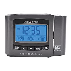 AcuRite 13239A1 Atomic Projection Clock with Indoor Temperature Gray, 0.9