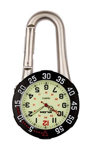 Klox Unisex-Uhr Schwarz, drehbare Lünette analoges Quarzwerk mit silbernem Clip am Karabiner K-FOB
