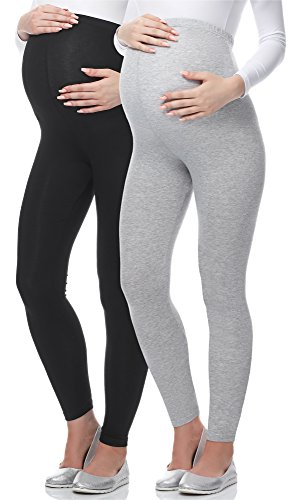 Be Mammy Lange Umstandsleggings aus Viskose BE-02 2er Pack (Schwarz/Melange, L)