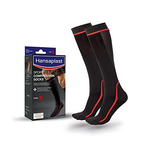 Hansaplast Sport Compression Socks, Sport Kompressions-Strümpfe zur Unterstützung der Muskulatur, Kniestrümpfe fördern die Muskelregeneration, 1 Paar, Größe L/XL