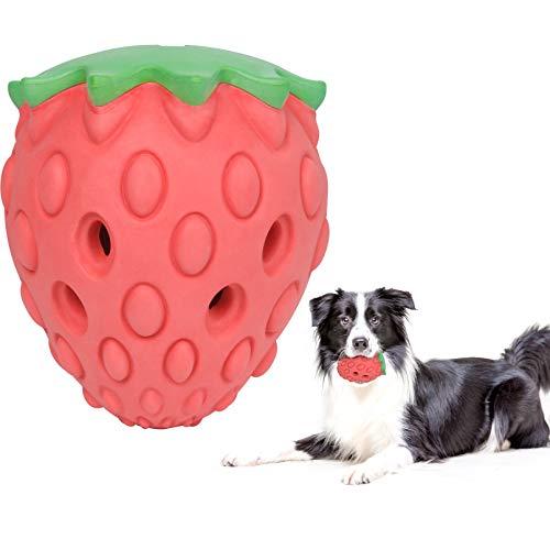 YHmall Hundespielzeug Kauspielzeug Hunde, Leckerlispender mit Erdbeergeschmack Spielzeug Hund kauen, Zahnreinigung Naturkautschuk Hundespielzeug Unzerstörbar...
