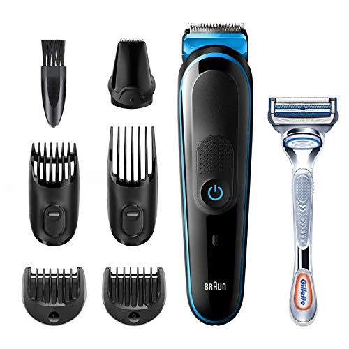 Braun 7-in-1-Trimmer MGK3242 Herren-Barttrimmer, Gesichtshaartrimmer und Haarschneider, schwarz/blau