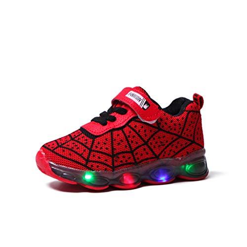 Unisex Zapatillas de Deporte de LED Intermitentes con Estampade de Telaraña Sneakers de Suela de Antideslizante Transpirable Zapatos Correr para Bebé Niñas Niños Fannyfuny