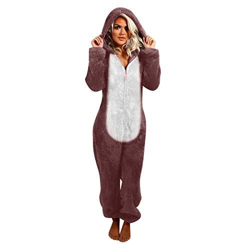 Zilosconcy Pijama Franela de una Pieza Invierno para Mujer Pijama Encapuchado Calentito Ropa de Casa Dormir Unisex Adultos de Pijamas Ropa de Dormir Conejo con Capucha