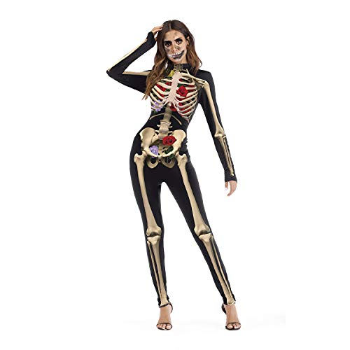 Großartig Occident Halloween Rose Kostuum van het Skelet Festival Event Party Fashion Design Costume COS met lange mouwen Jumpsuit Vrouwen Mannen Stof (Size : S/m)