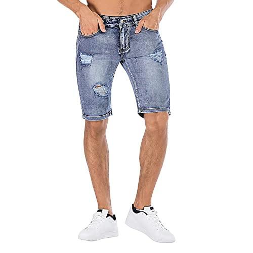 Pistaz Pantalones cortos de mezclilla desgarrados para hombre, moda retro, informales, pantalones de verano, holgados, pantalones cortos, ropa de calle, azul claro, 36W
