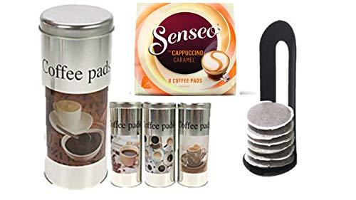 Senseo Kaffeepads Cappuccino Caramel, Milchschaumklassiker, Kaffee, neues Design, neue Rezeptur + 4 Pad Dosen mit Motiven II und 4 Padhebern