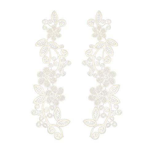 ZHOUBA 2 Stück Spitzen-Stickerei Applikation Kleidung Ausschnitt Trim DIY Nähen Kragen Patch, weiß, Weiß