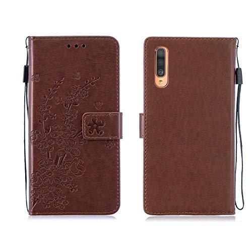 ZHANGHUI - Funda de protección para Galaxy A70 Plum, diseño de flores con tapa, funda de piel horizontal, con soporte y tarjeta para máquina debajo y portamonedas y largo (color marrón y marrón)
