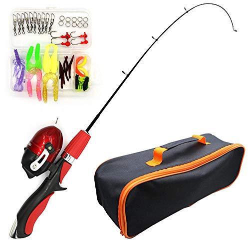 Knowledgi - Caña de pescar para niños, portátil, telescópica, para niños, con línea de pesca, bolsa de viaje para chicas, niñas o jóvenes