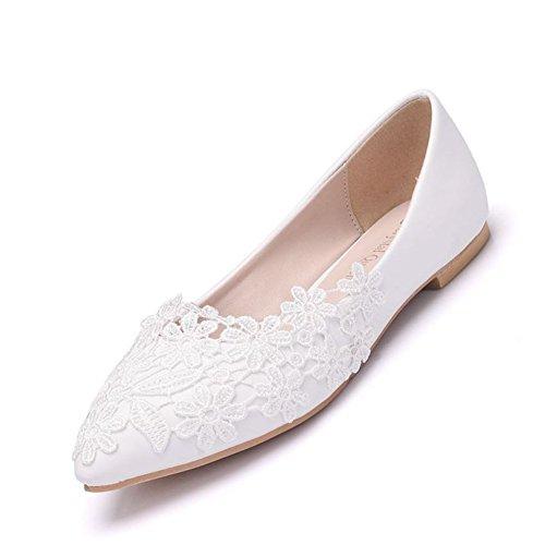 HMNS Shoes Femme Ballerines Chaussures De Mariage en Dentelle Blanche Bout Pointu Escarpins,Ballerines Plates pour Femmes Taille EU 35-42,Blanc,EUR42/UK10