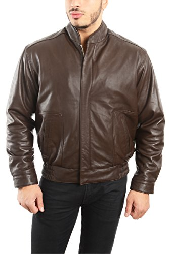 REED EST. 1950 Men's Coat Genuine Lambskin Leather Stand UP Collar S5Z Bomber Jacket (2XL, Brown)