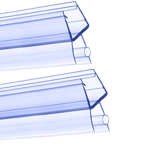 Duschtürdichtung, 2 Stück, 4–6 mm Duschtürdichtungsstreifen, Ersatz-Kunststoff-Dichtungsstreifen, transparent, für Badewannen-Boden, Dusche, Glasgummi, 100 cm/1000 mm