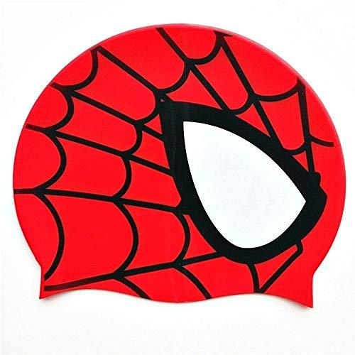 Lovelegis Bonnet de Bain Enfant - 100% Silicone - Superhero - Spider Man - mer - étanche - ajusté - Tour de tête de 46 à 52 cm - Idée Cadeau de Noël et d'anniversaire