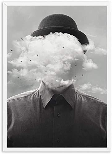 YYTTLL Póster, Concepto Surrealista Hombre con Nube pájaro Lienzo Pintura impresión Cartel Blanco y Negro Pared Arte imágenes Sala de Estar decoración del hogar 40X60Cm sin Marco