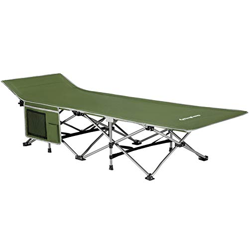 KingCamp Strong Stable Folding Camping Bed Cot with Carry Bag (Green with Side Pocket)